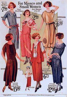 1923 day dresses, house dress, gigham, prints