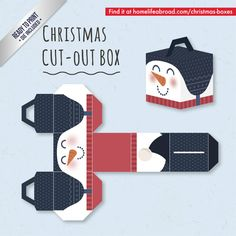 Christmas Snowman Cut-Out Box - with ready to print templates! Check out all the boxes & download at @homelifeabroad.com #christmasgifts #christmasboxes #christmastemplates #christmasprintables #xmas #DIY #boxes #christmasDIY #christmascrafts #snowman