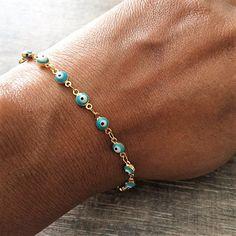 Evil Eye Bracelet Lucky Charm Bracelet Beaded by Instyleglamour