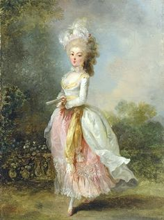 bumble button: Marie Antoinette:  also not Marie Antoinette--Jean-Frederic Schall (French painter, 1752-1825) Portrait of a lady, said to be Marie-Madeleine Guimard, called Mademoiselle Guimard, ballerina of the Paris Opéra.  Schall did a series of these pretty pieces.