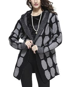 Take a look at the Black & Gray Hooded Open Jacket on #zulily today!