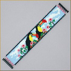 TWIN BEAKS  Gorgeous and Fun Toucan Peyote Bracelet Pattern by Kristy Zgoda