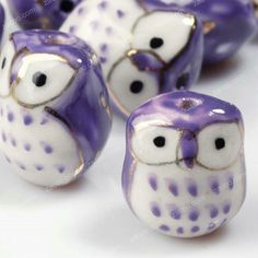 10+Pcs+Purple+Porcelain+Owl+Beads+17mm+PB0012+by+zacoo+on+Etsy,+$4.99