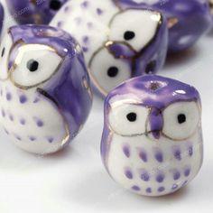 10+Pcs+Purple+Porcelain+Owl+Beads+17mm+PB0012+by+zacoo+on+Etsy,+$4.99