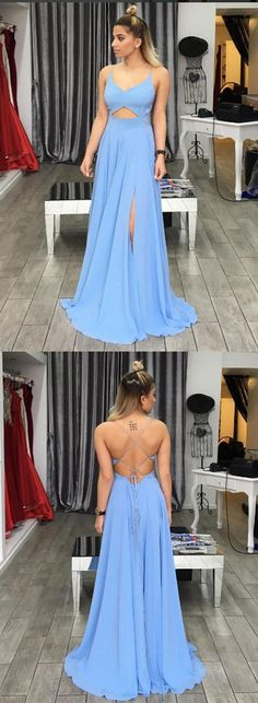 Simple Prom Dress,Blue Prom Dress,V Neck Prom Dress,Backless Evening Dress,Long Prom Dresses