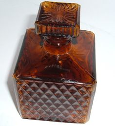 Vintage glass decanter  small brown diamond cut by NewtoUVintage, $10.99