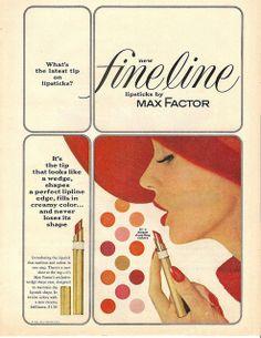 1962 max factor fine line lipstick ad...