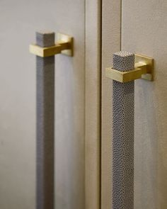 Details from the previous post of the suede wardrobe doors with a bevelled edge . - Details from the previous post of the suede wardrobe doors with a bevelled edge detail and shagreen - Wardrobe Door Designs, Wardrobe Design Bedroom, Wardrobe Door Handles, Wardrobe Doors, Bedroom Door Handles, Joinery Details, Black Door Handles, Interior Minimalista, Furniture Handles