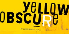 New free font 'Yellow Obscure' by junkohanhero · Free for personal use · Latest Fonts, Typography, Graphic Design, Yellow, Food Truck, Letters, Mood, Fresh