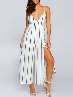SHARE & Get it FREE | High Slit Striped Cami Chiffon JumpsuitFor Fashion Lovers only:80,000+ Items • New Arrivals Daily Join Zaful: Get YOUR $50 NOW!