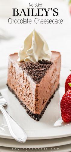 No-Bake Baileys Chocolate Cheesecake with a chocolate cookie crust – Kuchen und Torten – desserts Party Desserts, No Bake Desserts, Dessert Recipes, Health Desserts, Baileys Cheesecake, No Bake Chocolate Cheesecake, Baileys Cake, Chocolate Frosting, Easy Cheesecake Recipes