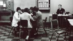 The Beatles in the Abbey Road canteen, on the 24th June (possibly 25th) 1967.     Photo by David Magnus, from his new exhibition starting soon in London.