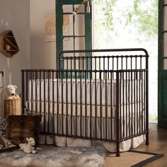 Franklin & Ben Winston 4-in-1 Convertible Crib - Handle your nursery needs with a touch of Victorian steampunk flair. The Franklin & Ben Winston 4-in-1 Convertible Crib is a classic iron bedstead for...