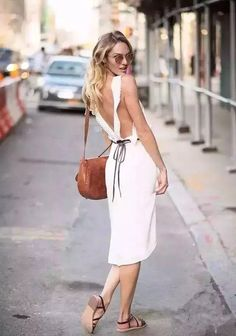f46f7712e6 Fashion Styles  White Backless Dress Chic Outfits