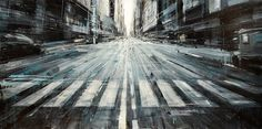 Italian-born Philadelphia-based artist Valerio D'Ospina creates cityscape paintings depicting architectural sights and cityscapes from New York and Italy. Italy Landscape, Urban Landscape, Manhattan New York, Skyline Painting, Italy Street, Colossal Art, Italian Painters, Urban Art, Les Oeuvres
