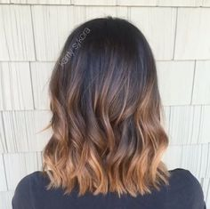 Dark brunette with Carmel copper balayage hair color