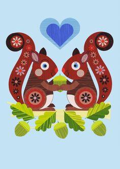 Ellen Giggenbach: card designs Squirrel Art, Cute Squirrel, Squirrels, Squirrel Illustration, Illustration Art, Affinity Designer, Travel Drawing, Motif Floral, Naive Art