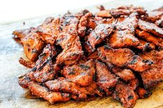 showing how to make Tacos Al Pastor with thinly sliced al pastor meat on a cutting board after it has been grilled Grilled Pork Marinade, Marinated Pork, Grilling Recipes, Pork Recipes, Mexican Food Recipes, Mexican Cooking, Cooking Recipes, Healthy Recipes, Chipotle