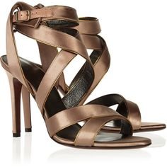 Lanvin Multi-strap satin sandals (20,430 DOP) ❤ liked on Polyvore featuring shoes, sandals, round cap, leather sole shoes, lanvin shoes, high heel sandals and satin shoes
