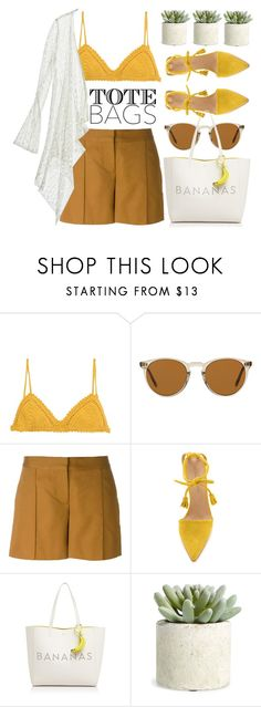 """""""In the Bag: Beach Totes"""" by jiabao-krohn ❤ liked on Polyvore featuring SHE MADE ME, Oliver Peoples, Vanessa Bruno, Ulla Johnson, Kate Spade, Allstate Floral, Calypso St. Barth and beachtote"""