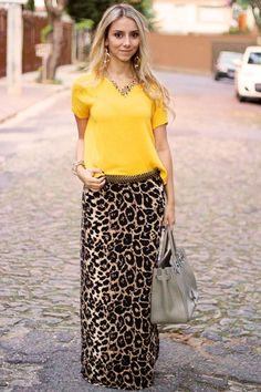60 cool ways to style a leopard satin skirt 61 ~ Litledress - Women Outfits Long Skirt Outfits, Maxi Outfits, Modest Outfits, Classy Outfits, Chic Outfits, Fashion Outfits, Womens Fashion, Casual Dresses, Leopard Print Outfits