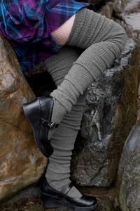Long Cuffable Scrunchable Socks - Long enough to be thigh-high, these look super with a nice thick cuff at their tops... and you can scrunch them for a ruched look, too! These will look cute with everything as the weather cools down.  We've heard they're great for hiking as well!  Made in the USA.