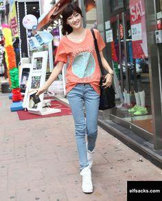 Womens Candy Color V-Neck Short Sleeve Orange Tshirt