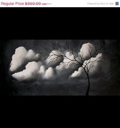 Contemporary Abstract Tree Painting in Black and White with Clouds - Original by…