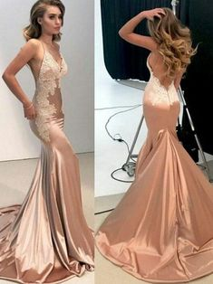 b533fc53d7b Sexy Mermaid Backless Formal Dress for Women Nude Evening Long Lace Prom  Dresses - SheerGirl Lace