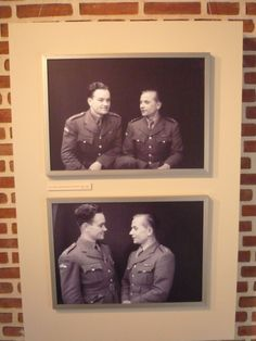 """Portraits of Anthropoid group members - Jan Kubiš and Josef Gabčík - in the exhibition """"Faces of courage"""""""