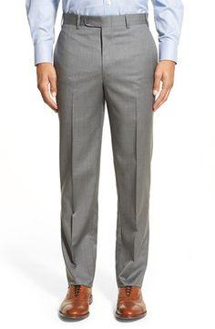 Di Milano Uomo 'Torino' Flat Front Solid Wool Trousers