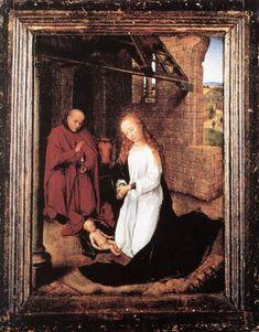 Hans Memling ca. 1433 – 1494     The Nativity     oil on panel (29 × 21 cm) — c. 1470-1472 Museum für Angewandte Kunst, Cologne     Hans Memling biography     This work is linked to Luke 2:7