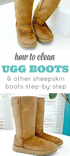 How To Clean Ugg Boots or Any Sheepskin Boots - Video Included If you love your Uggs as much as we do, you know they are expensive and hard to keep clean. This step-by-step tutorial will show you how to clean Ugg Boots or any sheepskin boots with ease! Deep Cleaning Tips, House Cleaning Tips, Spring Cleaning, Cleaning Hacks, Ugg Cleaning, Cleaning Suede, Cleaning Shoes, Cleaning Recipes, Organizing Tips