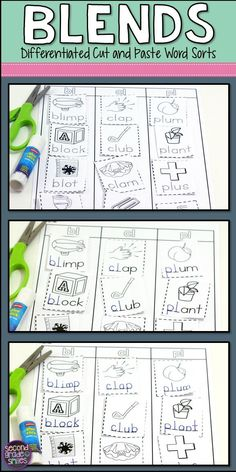 Need new word work ideas for teaching consonant blends? These cut and paste printables are a great way for your students to practice spelling  and sorting words with beginning and ending blends. Three levels of sorts are included for each pattern, making these worksheets easy to differentiate. Perfect for literacy centers in first grade or second grade!
