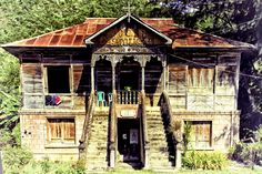 A centennial house in the vicinity of the Boljoon Church in Southern Cebu, Philippines. Bohol, Palawan, Batanes, Filipino Architecture, Philippine Architecture, Cebu, Filipino House, Les Philippines, Thai House