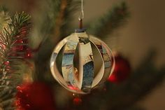 recycled holiday card ornament