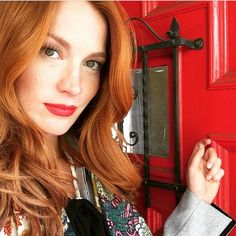 Redheads Magazine - Red door, Redhead  @clancymclain Redheads, Leather Jacket, Hair, Magazine, Orange, Beauty, Instagram, Fashion, Characters
