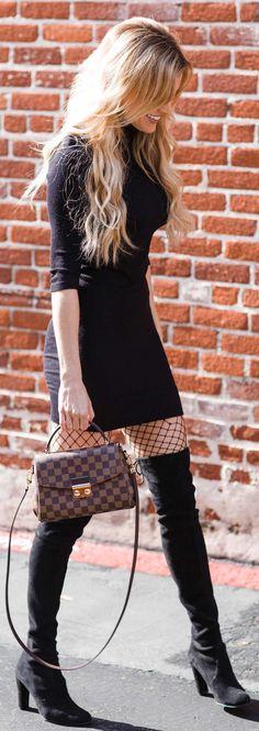 #winter #fashion /  Black Dress / Checked Tote Bag / Black Tights / Black OTK Boots