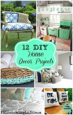 Need some DIY decor inspiration? This post shares12 Inspiring DIY Home Decor Projects. A Blossoming Life