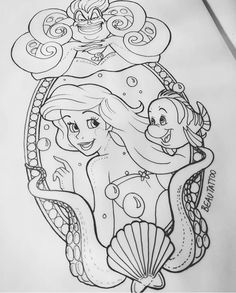 Oddles of fish for background - Disney Zeichnungen Love Tattoos, Body Art Tattoos, Tattoo Drawings, Art Drawings, Disney Sketches, Disney Drawings, Painting & Drawing, Disney Sleeve, Disney Paintings
