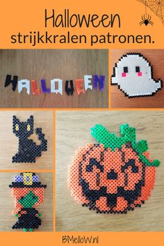 Halloween strijkkralen patronen. Pearl Beads Pattern, Halloween Beads, Perler Beads, Beading Patterns, Kids Crafts, Crochet Earrings, Creative, Blog, Bead Patterns