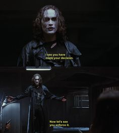 "Brandon Lee as Eric Draven in The Crow. ""I see you have made your decision. Now let's see you enforce it. Brandon Lee, Bruce Lee, Crow Movie, Movie Tv, The Crow Quotes, About Time Movie, Dark Fantasy, Gorgeous Men, Beautiful"