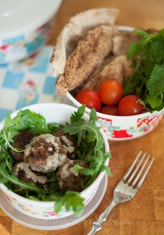 Keftedes - Lamb meatballs flavoured with mint and sesame. Drizzle with tahini.