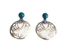 Mexican Sterling Earrings Door Knocker Green Jade Glass Pierced Silver Metal Vintage Jewelry by zephyrvintage on Etsy