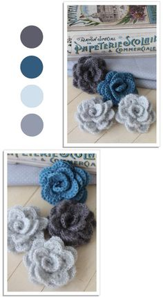 petites roses dans un camaieu de bleu