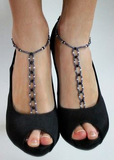 Classic Black and White Beaded Barefoot Sandals by BareSandals, $24.00