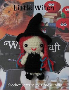 Free Amigurumi Witch crochet pattern for Halloween ~ Amigurumi crochet patterns ~ K and J Dolls / K and J Publishing