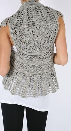 A lovely combination of fiber arts - openwork crochet, motif, knitted cables plus lace. : A lovely combination of fiber arts - openwork crochet, motif, knitted cables plus lace. Gilet Crochet, Crochet Shrug Pattern, Crochet Motifs, Crochet Jacket, Crochet Cardigan, Crochet Shawl, Knit Crochet, Crochet Vests, Cotton Crochet