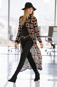 Boho Style Trending Fashion Women's Boho Chic Crochet Colorful Cardigan by Boston Proper. Colorful blocks of crochet take shape on our soft, duster-length cardigan sweater detailed with long sleeves and a single tie front. Crochet Coat, Crochet Cardigan, Crochet Clothes, Crochet Granny, Crochet Jacket Pattern, Crochet Sweaters, Crochet Squares, Fashion Mode, Look Fashion