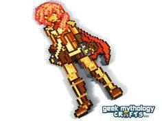 Final Fantasy XIII Lightning - Custom-Designed Perler Bead Sprite Decoration. $18.00, via Etsy.